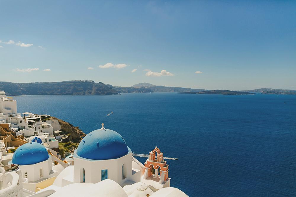 wedding church view caldera in santorini greece