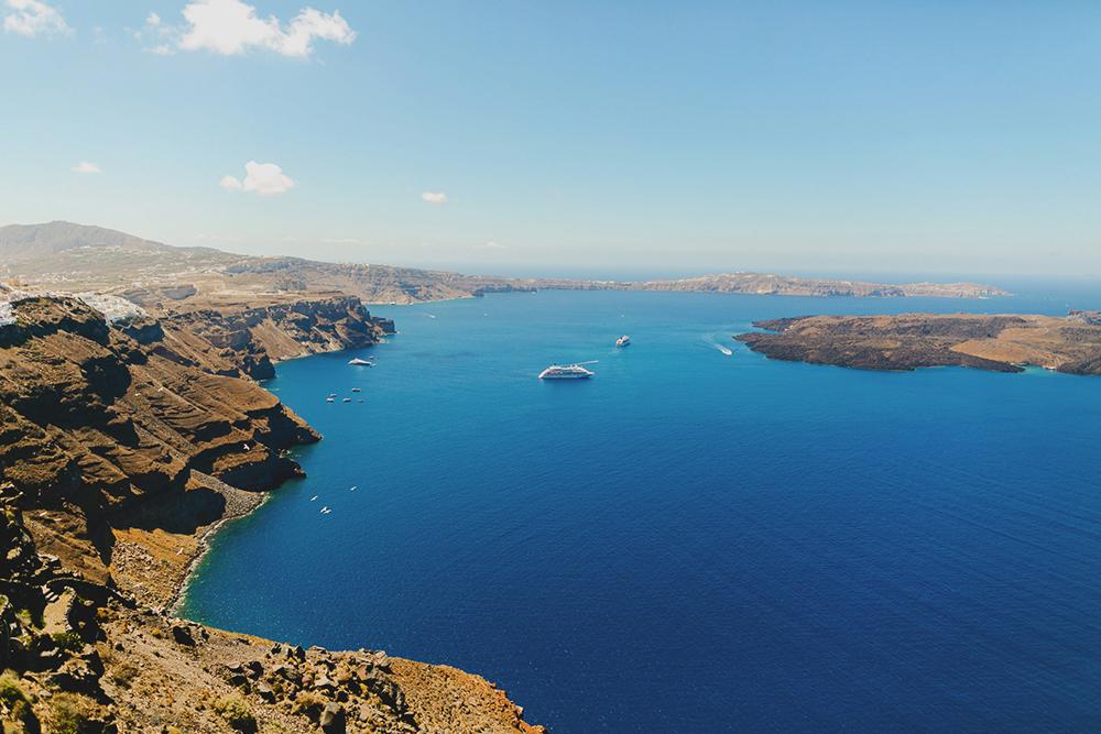 view caldera in Oia santorini greece