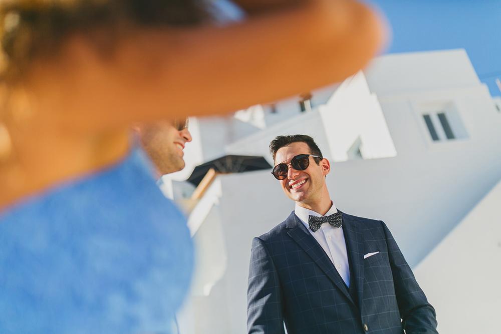 Santorini Groom is waiting for bride