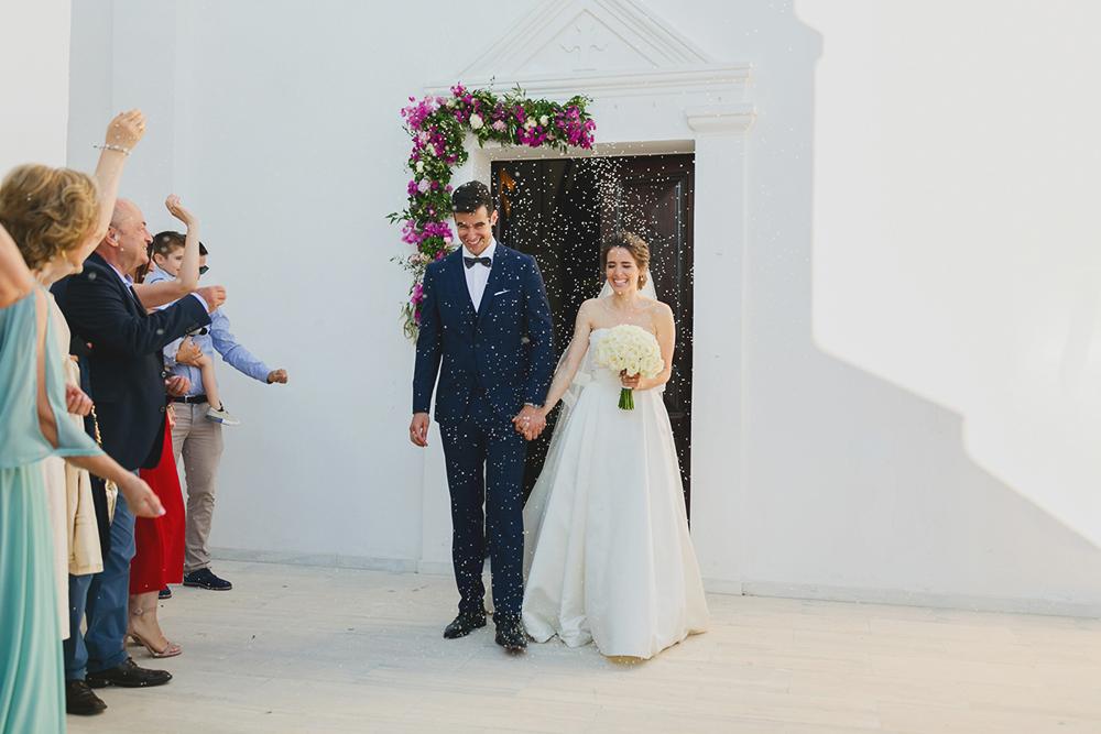 santorini wedding rice throwing