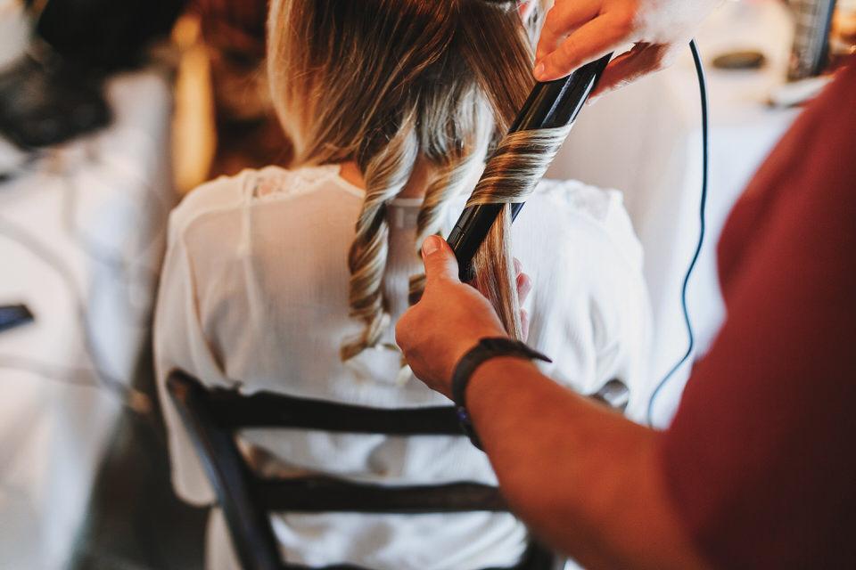 Brides hair style preparation
