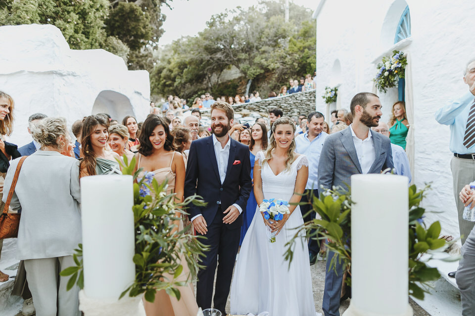 Guests and watching the ceremony in the yard