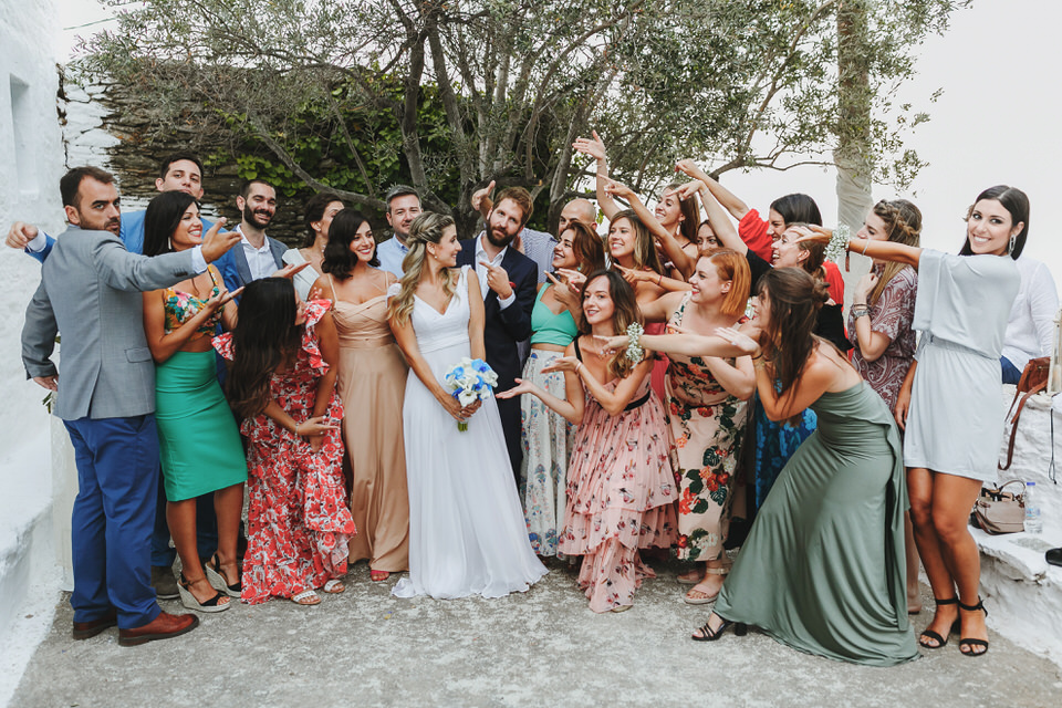 Emotional and happy moments of the bride and the groom with their friends and family after the ceremony